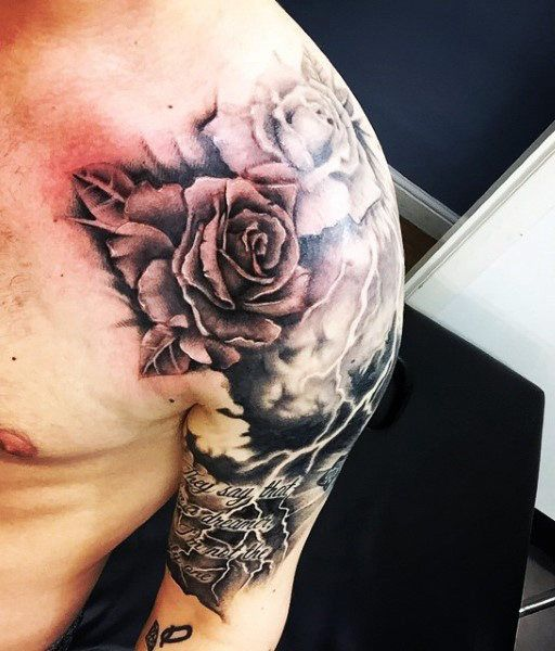 601d0c9559333 Rose Lightning Bolts Tattoo For Males Lightening Bolt Tattoo, Guy Tattoos, Sleeve  Tattoos,