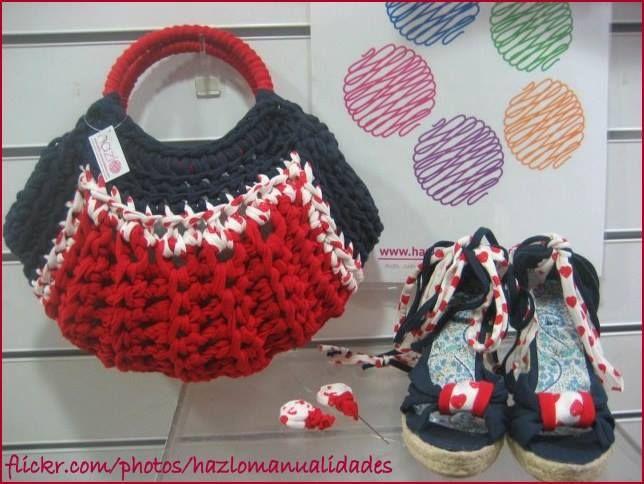 """Bolso de """"Bolso de """"Crochet em Trapilhos: Eu também crocheto"""""""""""