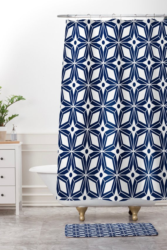 Geometric Shower Curtain Mid Century Modern Decor Bathroom
