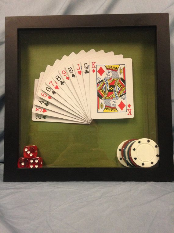 Playing Card Poker Shadowbox Frame Display By