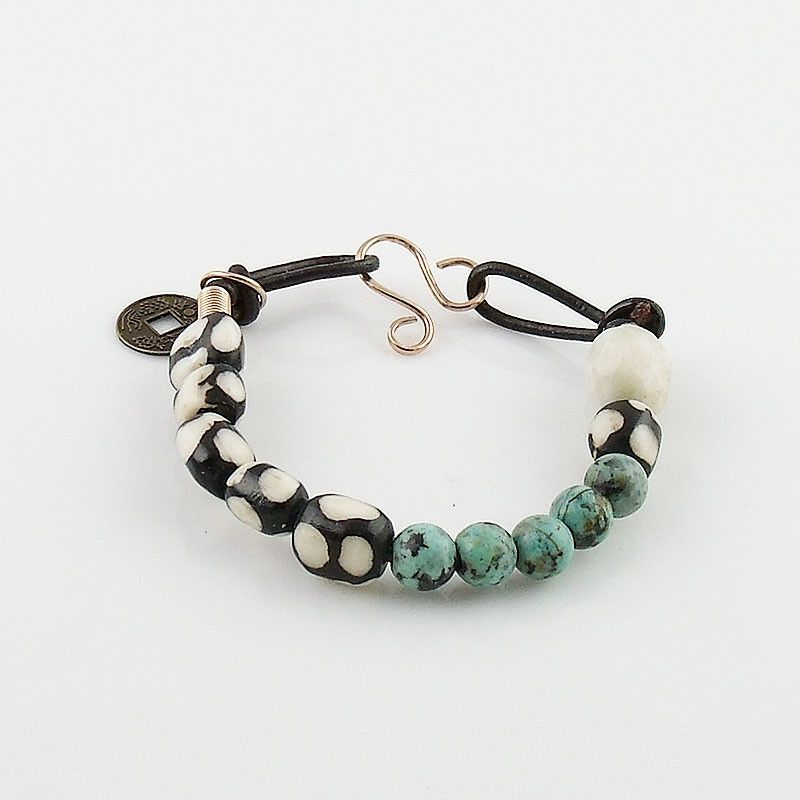 African Trade Bead & Turquoise Bronze Leather Prosperity Bracelet