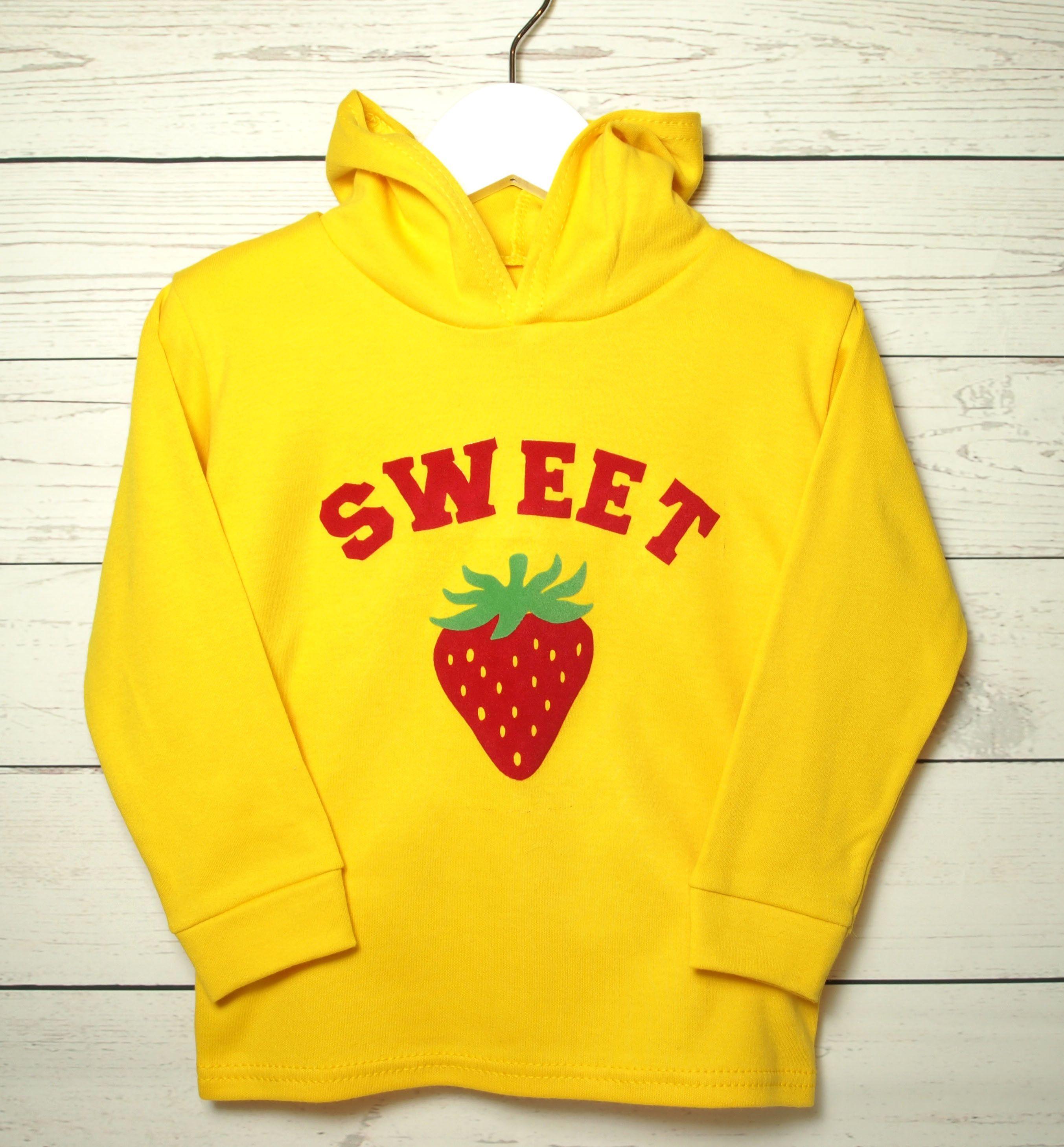 Girls Yellow Strawberry Top Baby Sweatshirt Toddler Jumper Childs