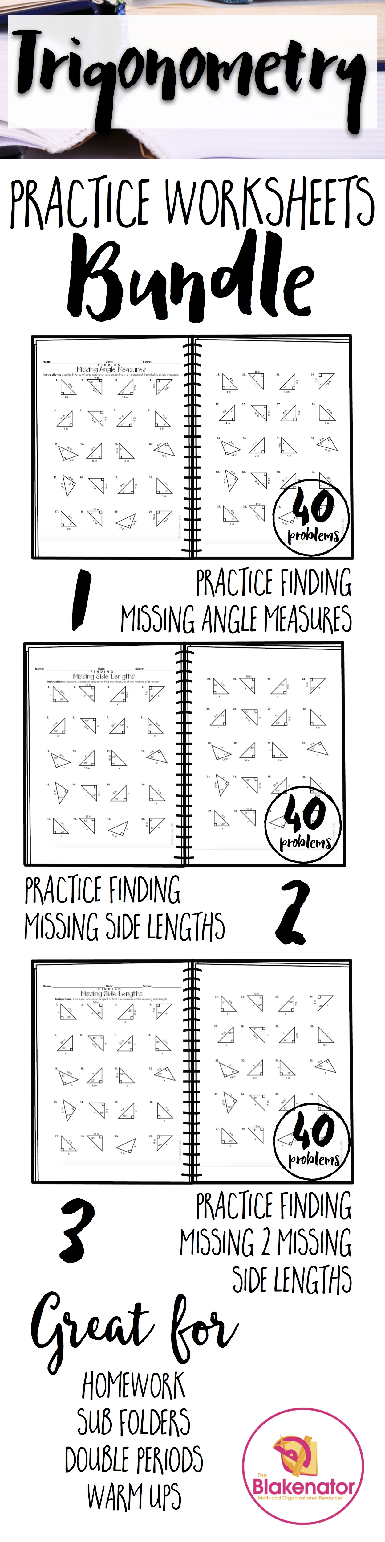 Trigonometry Worksheet Bundle 120 Practice Problems Trigonometry Worksheets Middle School Math Secondary Math