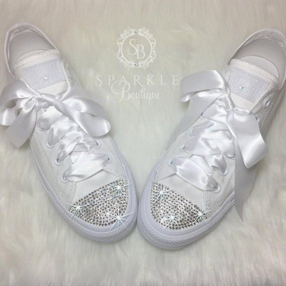 4c02235171f Wedding Converse SWAROVSKI Custom Converse Wedding Chucks Bedazzled ...