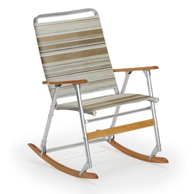 Telescope Casual High Back Folding Rocking Arm Beach Chair, Techno