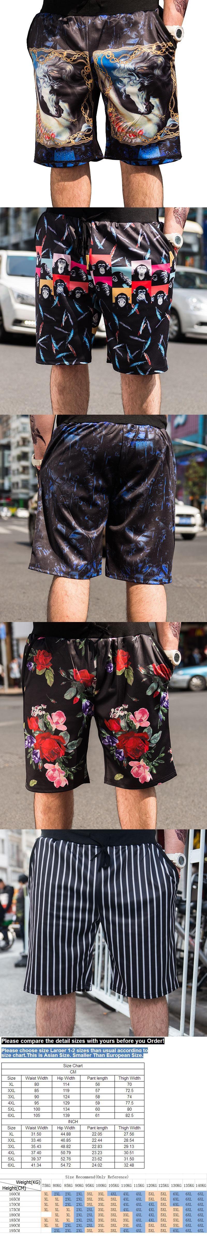 5xl 6xl 3d print shorts men plus size 2017 summer fashion luxury