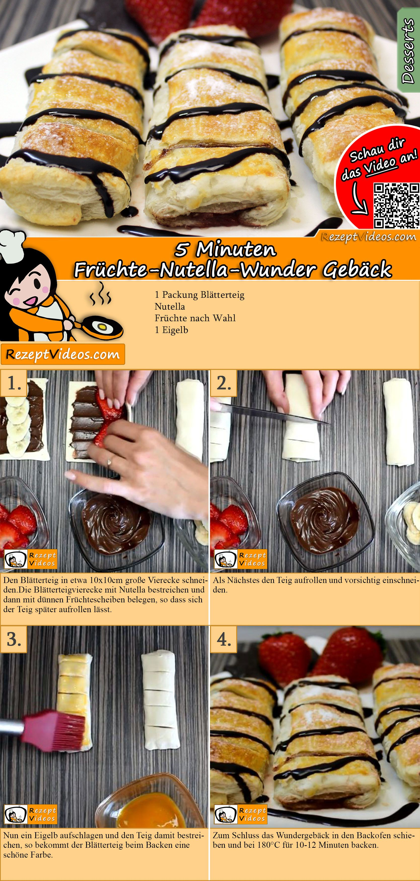 5 minute fruit and nutella pastry recipe with video