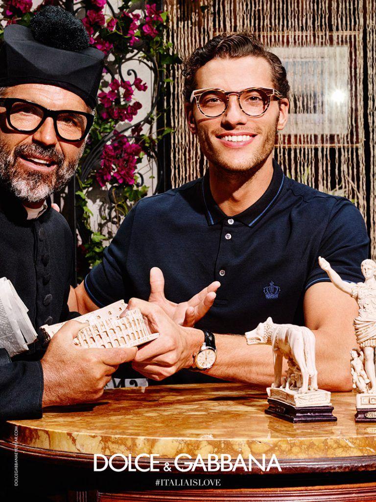811d46627ee Aurelien Muller pictured in optical frames for Dolce   Gabbana s summer  2016 eyewear campaign.
