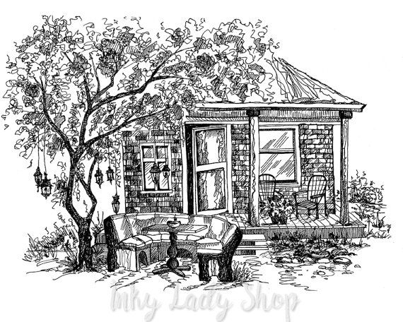 Custom Pen And Ink House Portrait Print. Digital File Only. Ink Sketch Of  Your
