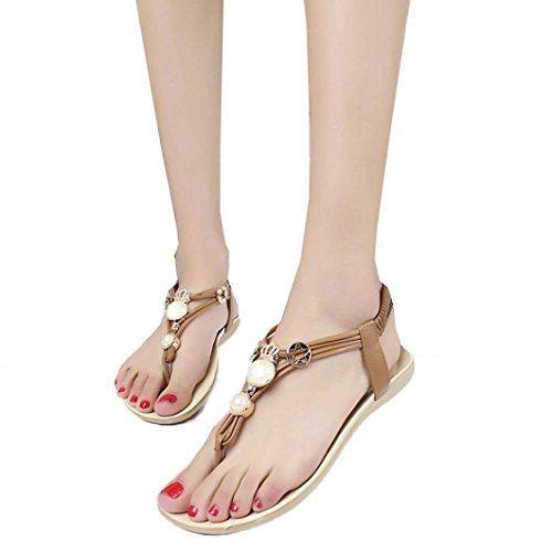 Summer Sandals Inkach Summer Bohemia Sweet Beaded Shoes Clip Toe Beach Sandals