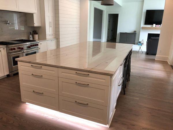 Mont Blank quartzite kitchen island by Luxury Countertops