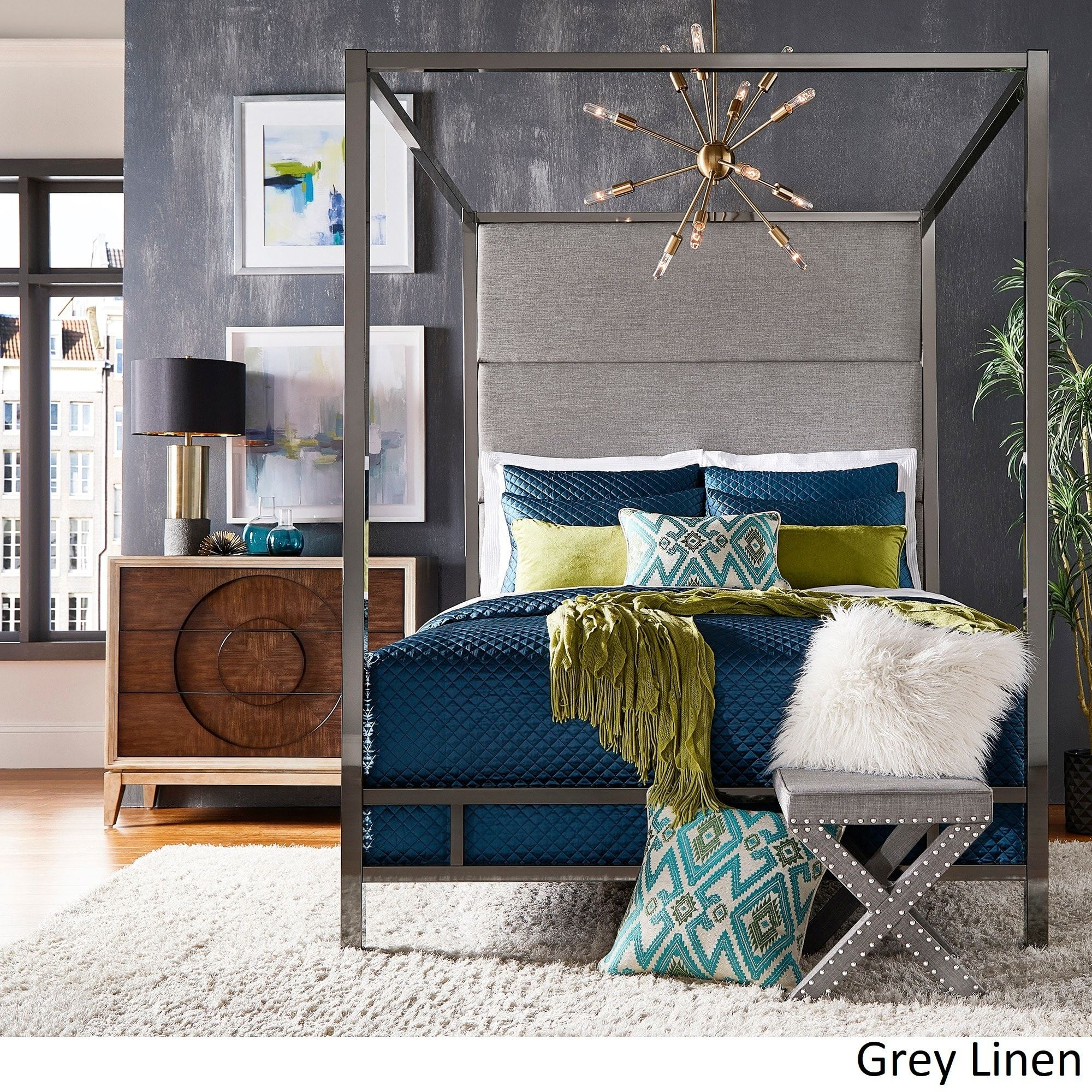 Evie Black Nickel Metal Canopy Bed with Linen Panel Headboard by iNSPIRE Q  Bold (Full Size - Dark Grey Linen)
