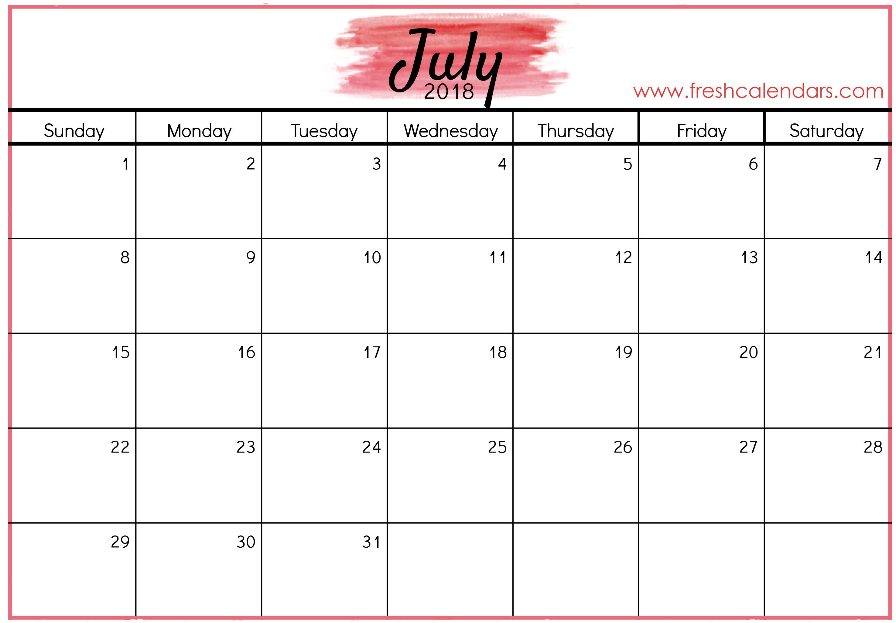 Free Printable July 2020 Calendar With Images Blank Calendar