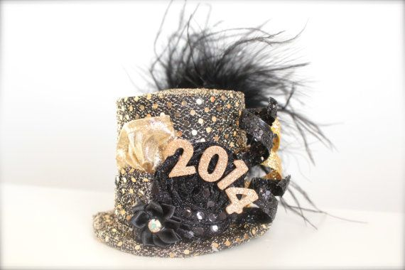 83bb6ee28 Over the Top 2014 New Years Eve Party Black and Gold - Mini Top Hat ...