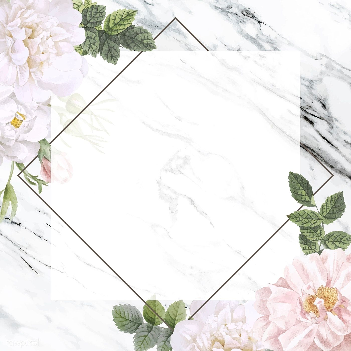 Frame On A Marble Background With Musk Rose Vector Free Image By Rawpixel Com Marble Background Floral Background Flower Backgrounds