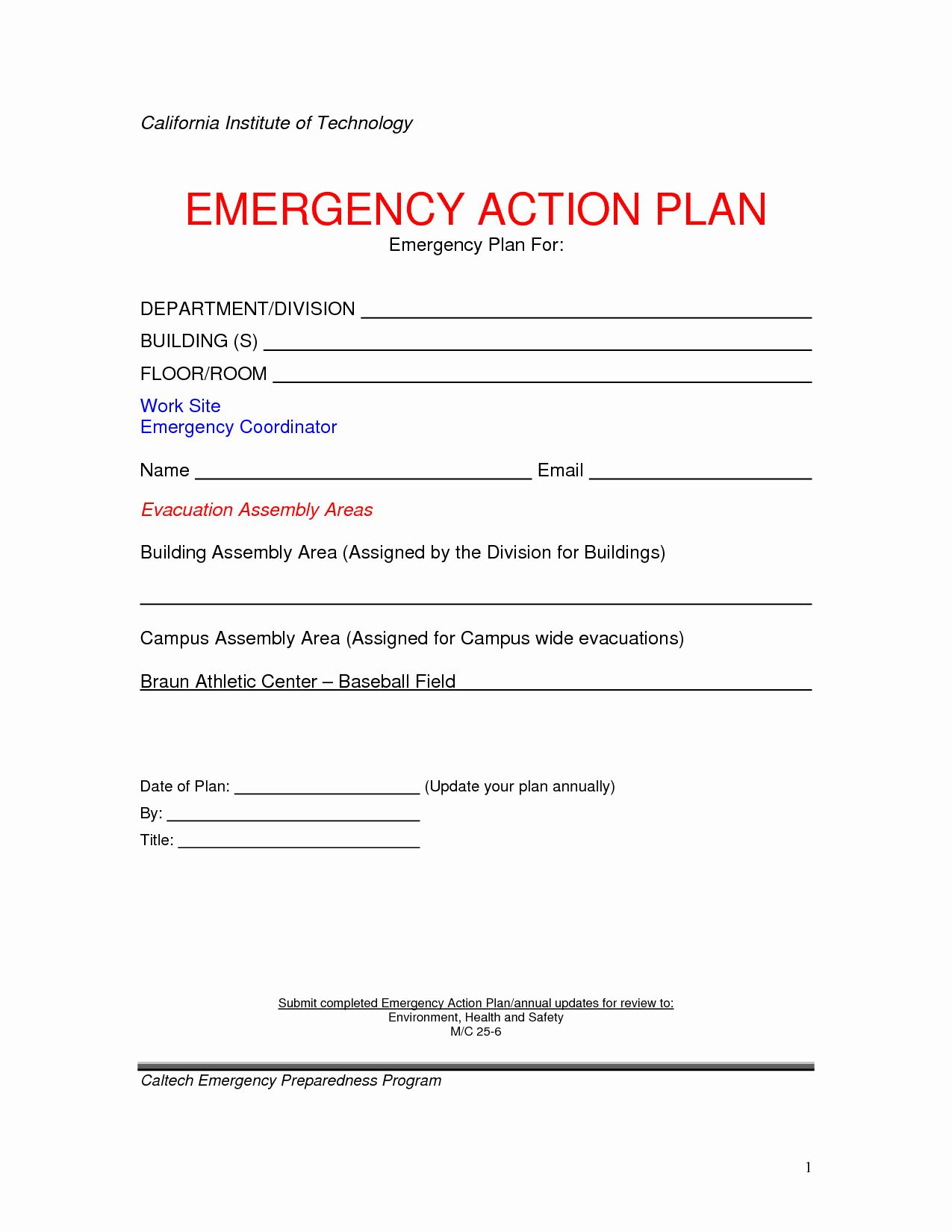 Fire Safety Plan Template Unique Emergency Action Plan Template In