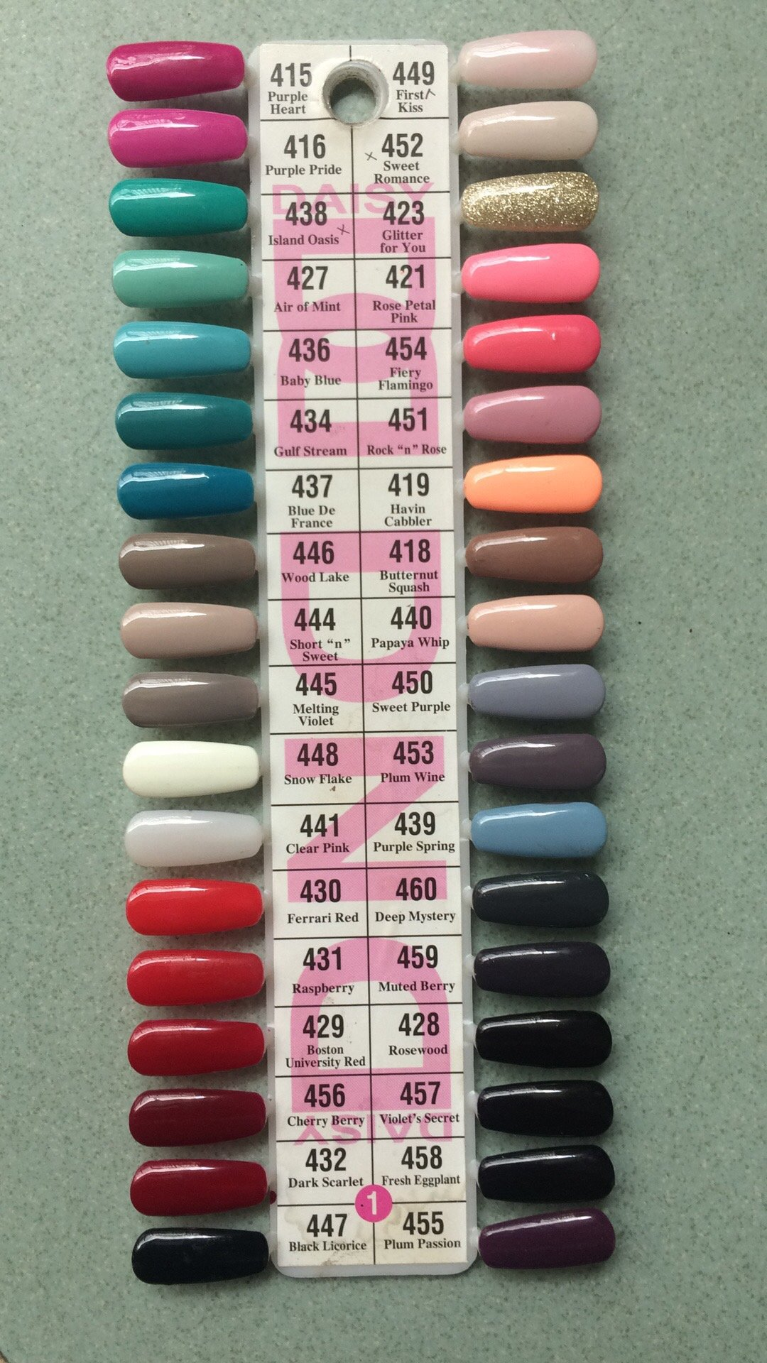 Dnd Daisy Gel Polish Color Sample Chart Palette Display New No 1