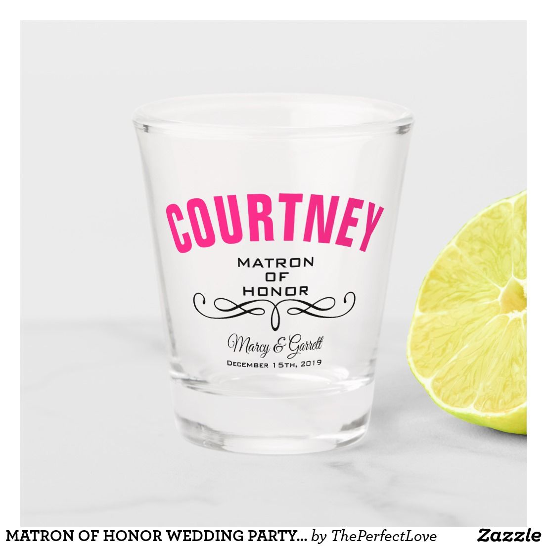 Matron of honor wedding party shot glass