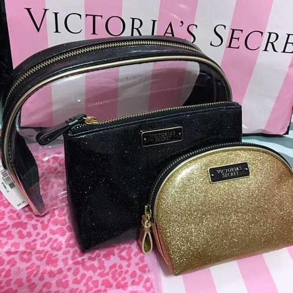 2353f92bb190 VICTORIA S SECRET Sparkly Pouch Set 3 pouches