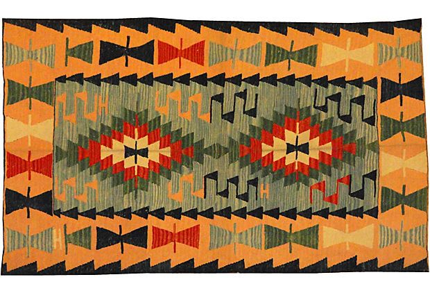 A handmade Turkish kilim flat woven in wool.   Vintage ...