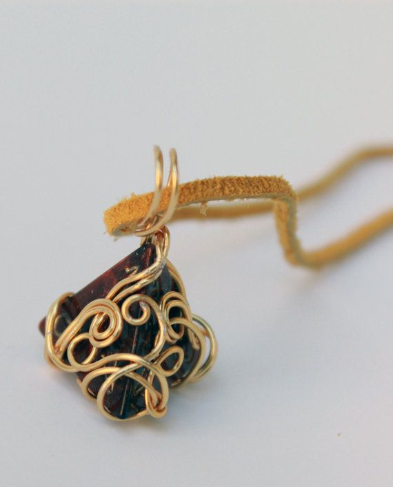 Wire-Wrapped D4 Marbled Bronze Necklace by HoneysuckleRoseC