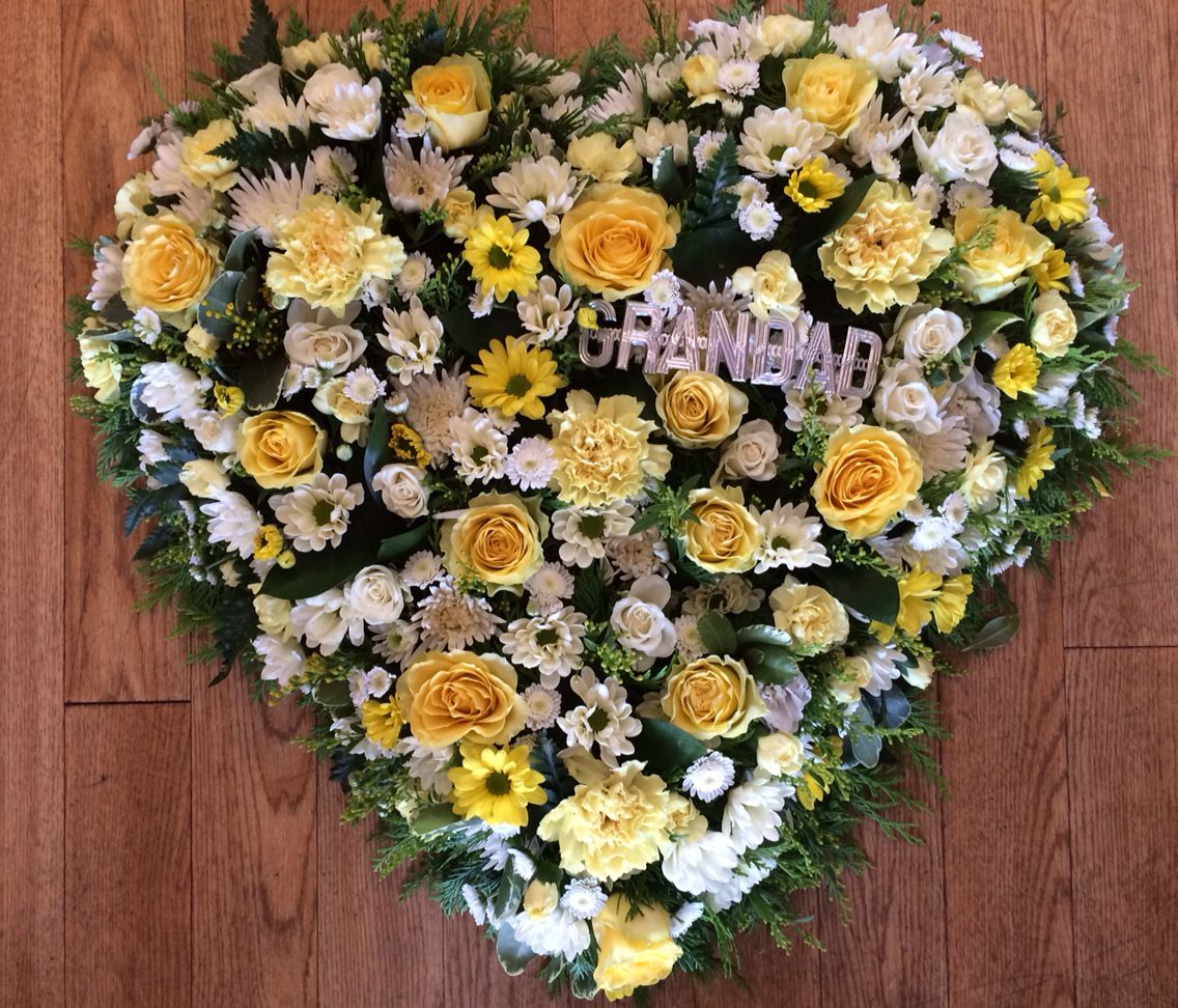 Heart In Flowers With Grandad In Silver Letters Funeral Flowers Flowers Floral Wreath
