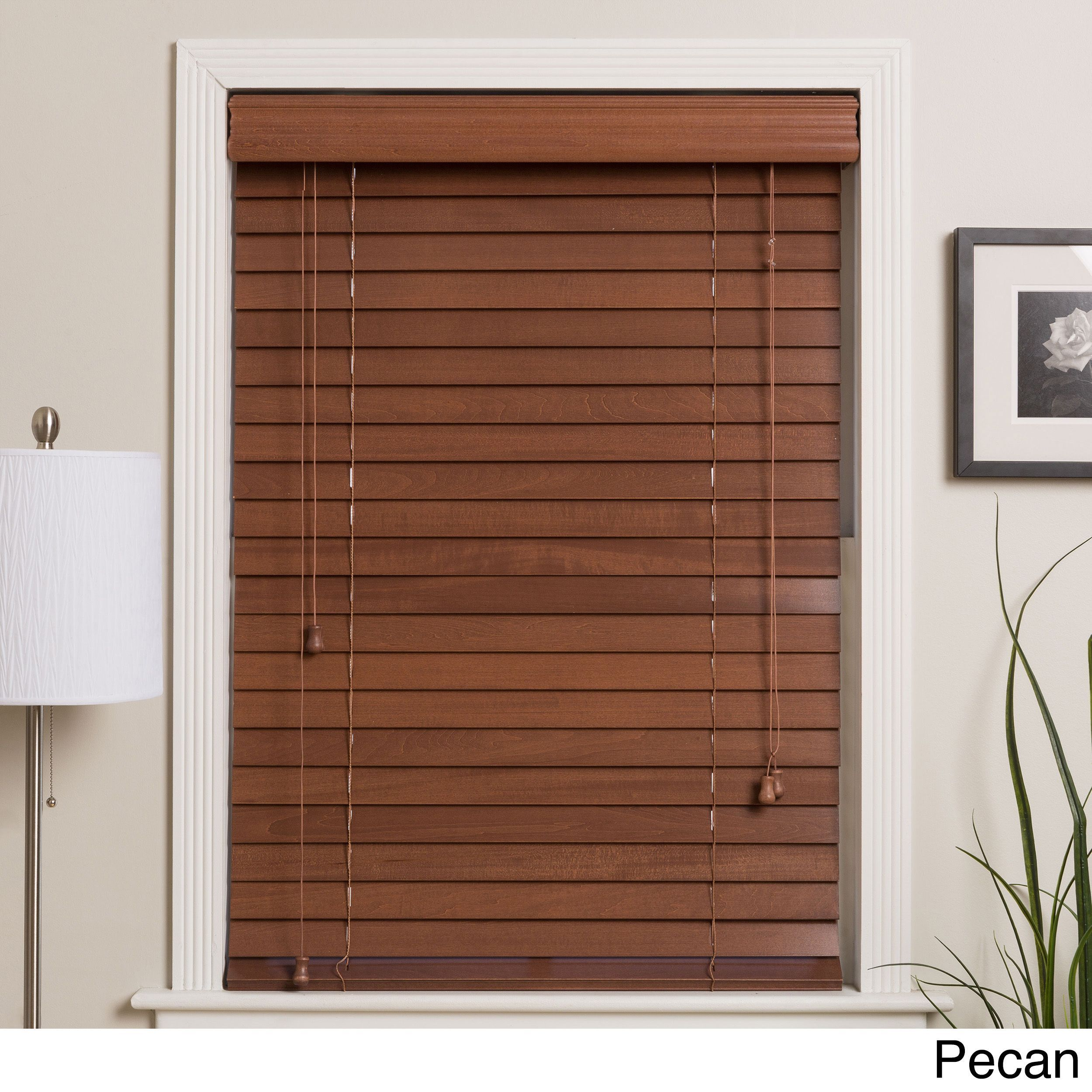 Customized 40 Inch Real Wood Window Blinds Pecan 40x50 Brown Blinds For Windows Wood Windows Faux Wood Blinds