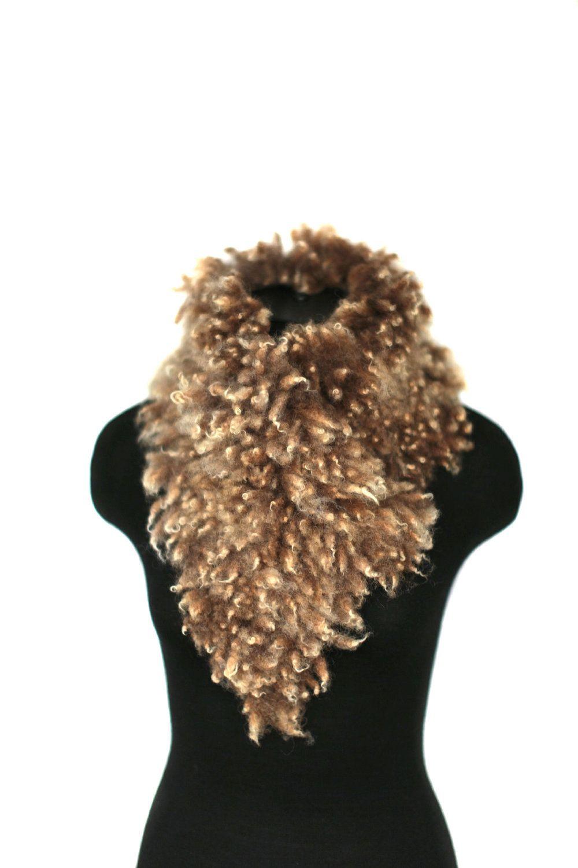 Felted Scarf    Raw Undyed Ahimsa Fur