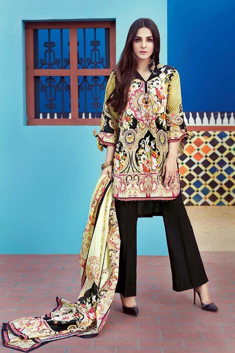 6d743a32fc Gul Ahmed 2 Piece Summer Essential 2018 Custom Stitched Lawn Suit - TL-112 B