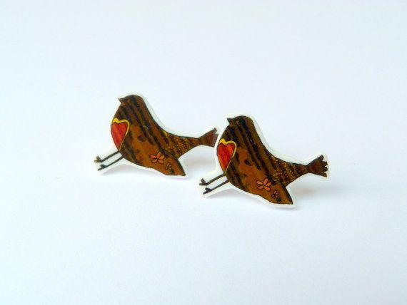 Original Bird Earrings  Small Plastic Studs  Hand by Floralchic