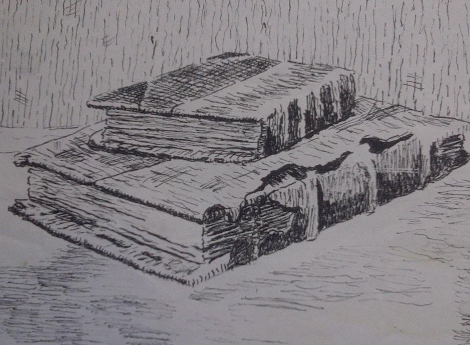 Old books drawn in pen