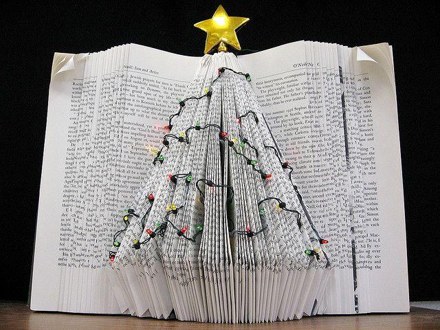 Holiday Tree Book Art Book Christmas Tree Christmas Books Folded Book Art