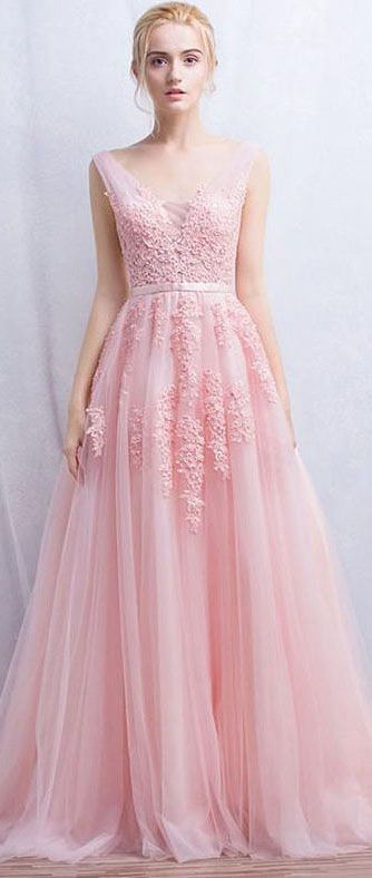22fbf43f760 Shop affordable Sleeveless V-neck Long Appliques Tulle Dress at June  Bridals! Over 8000 Chic wedding