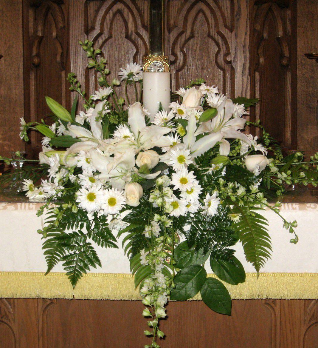 Unity Candle Altar Arrangement Wedding Pinterest Church Wedding Decorations Altar Flowers