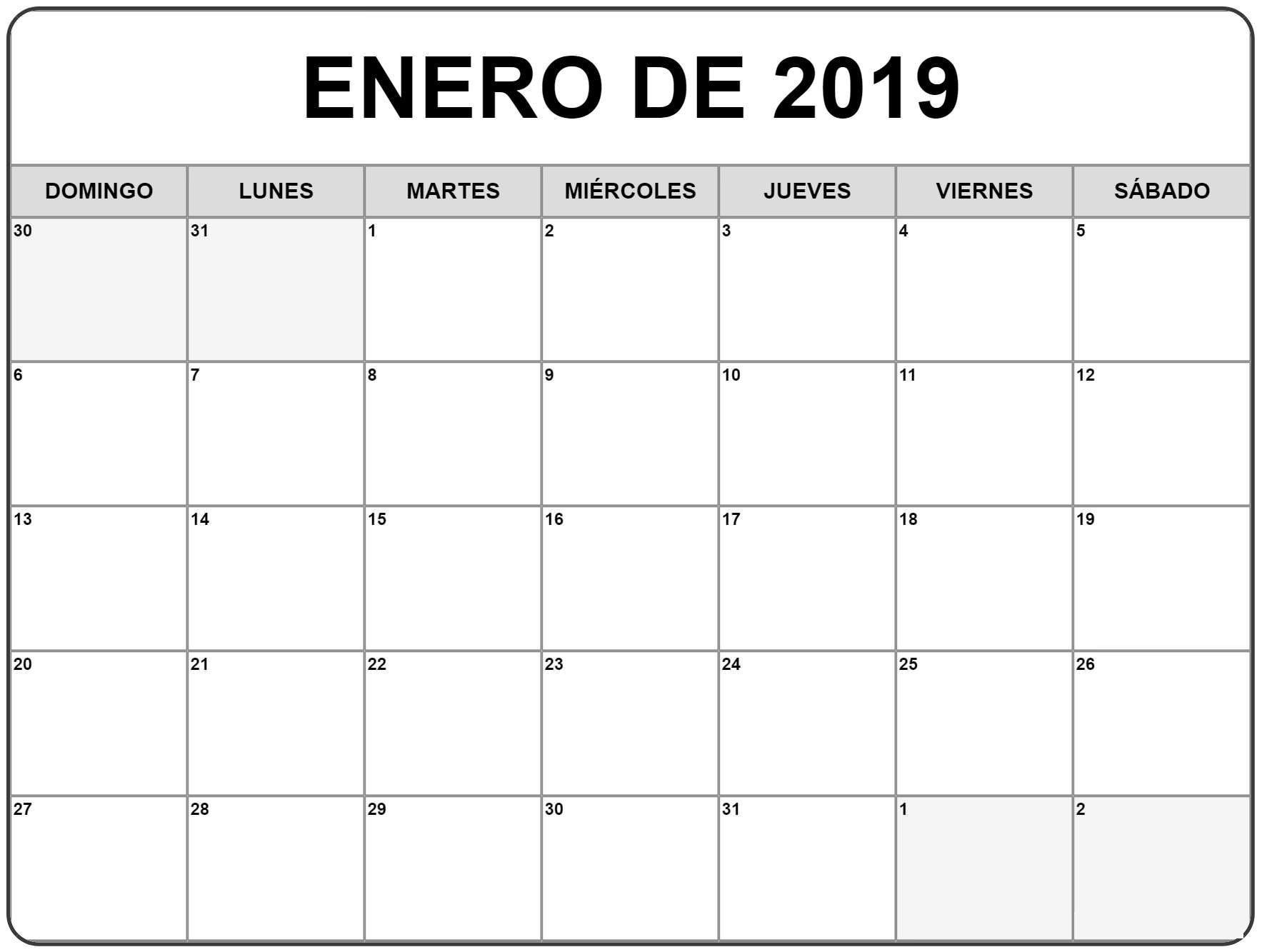 Calendario 2020 Argentina Para Imprimir Pdf.Calendario Enero 2019 Imprimir