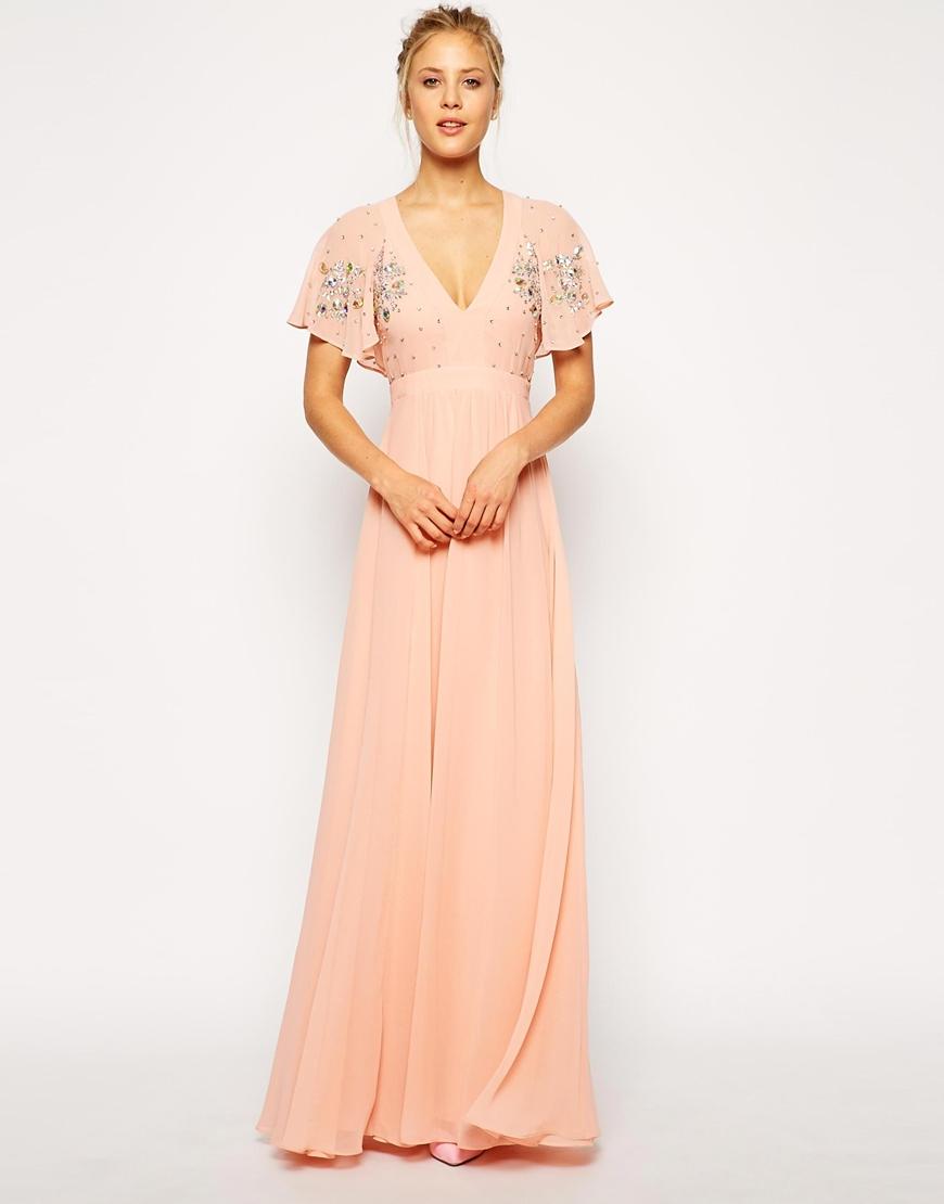 Flutter Sleeve Beaded Maxi Dress