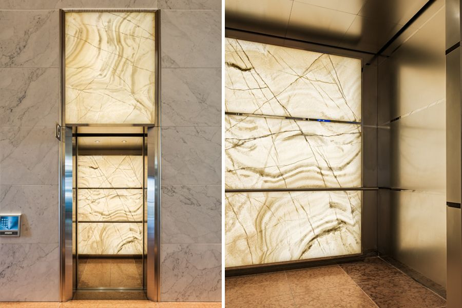Backlit Onyx Elevator Cab Panels Elevation Paneling