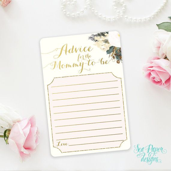 Printable Advice for The Mommy To Be Baby Shower Card: Blush Pink Roses & Gold Foil. Rustic Shabby Chic INSTANT DOWNLOAD
