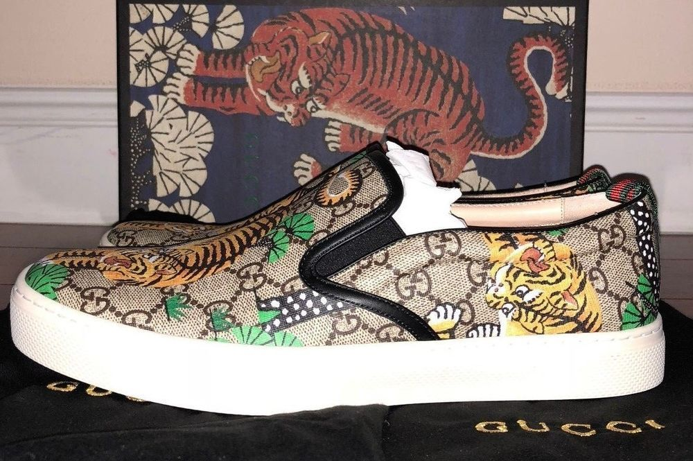 824c0097489 Mens Gucci Slip On Beige Supreme GG Bengal Tiger Calf Leather Slip On  Sneakers  Gucci  AthleticSneakers