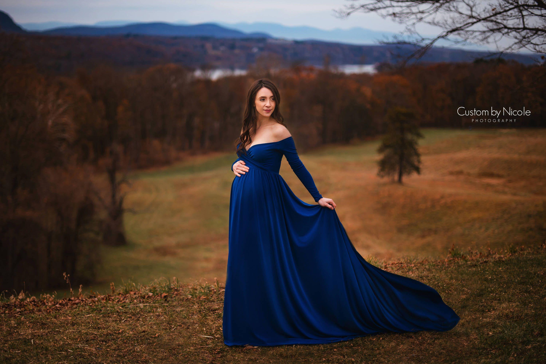 Darah Royal Blue Maternity Dress f Shoulders Long Sleeves