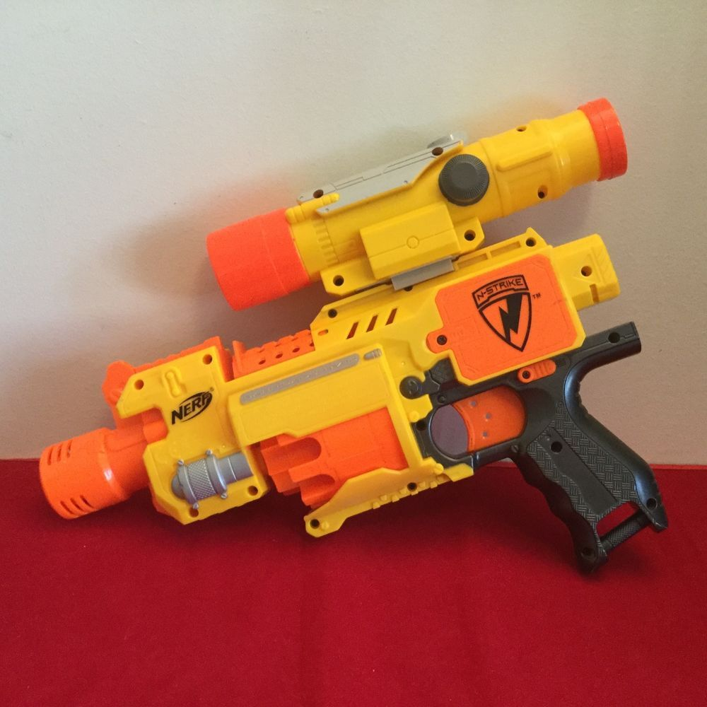 Nerf Long Strike CS-6 Sniper Rifle Gun, Barrel Extension, Scope, Bi POD 3  clips