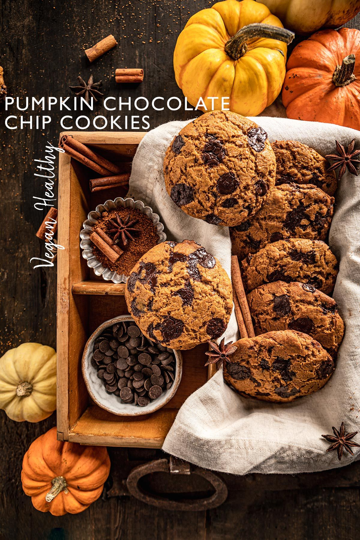 crispy and chewy VEGAN PUMPKIN CHOCOLATE CHIP COOKIES