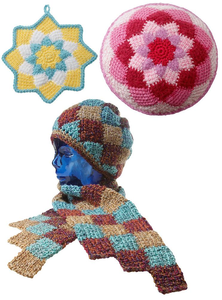 Have fun learning how to make Tunisian crochet entrelac beginning from the center and working outward in rounds to make a potholder, pillow and hat and scarf. Items shown made with worsted-weight cotton and acrylic yarns and a bulky yarn like Lion Brand Homespun, and can be made with Tunisian or regular crochet hooks.Entrelac is made block by block. In this pattern, we are working from the center outward, with each round of blocks growing a bit larger.Because the rows in Tun..