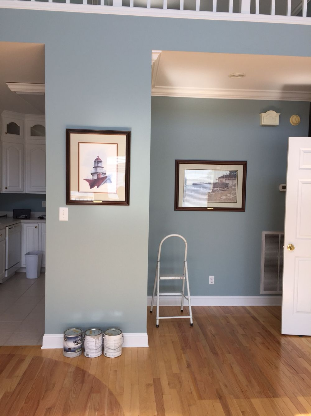 Benjamin Moore Kentucky Haze Try Lightening By 50 For Walls White Cabinets Wainscoting