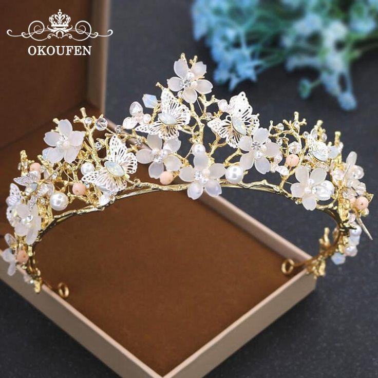 Brilliant Gold Kronen und Diademe Schmetterlinge Blumen 2018 Perlen Strass Haar ...  #blumen #brilliant #diademe #goldjewelryideas #kronen #perlen #schmetterlinge #strass #crowntiara