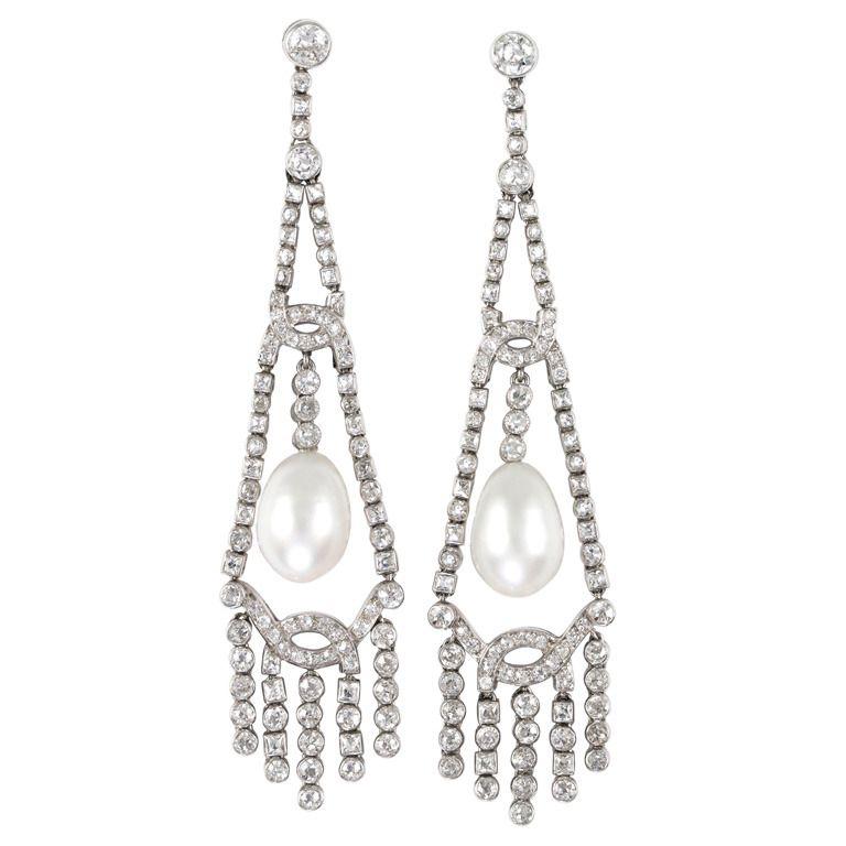 1920s Art Deco Natural Pearl Diamond Chandelier Platinum Earrings ...