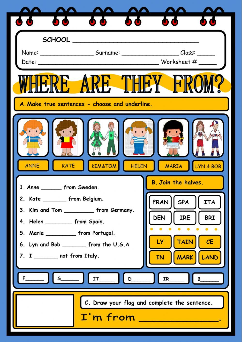 Countries and nationalities interactive and downloadable worksheet. Check…    Teach english to kids [ 1411 x 1000 Pixel ]