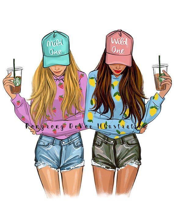 Best friends art (Fashion Illustration Print - Fashion Sketch prints - Home Decor - Wall Decor - Fashionistas)