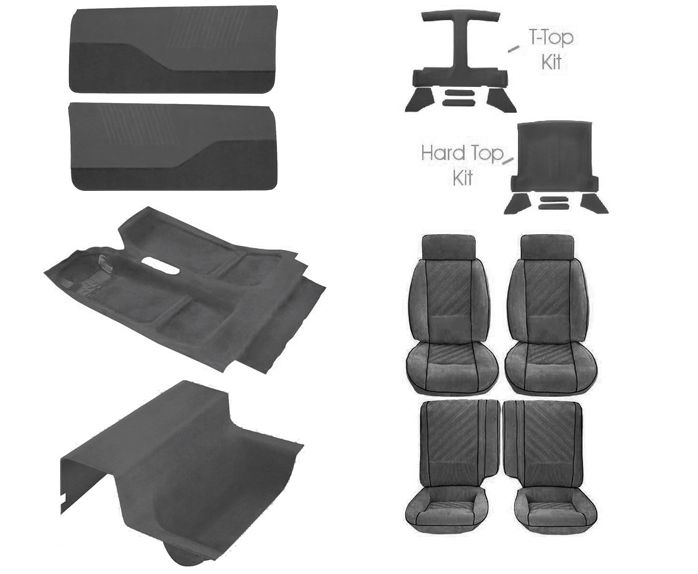 85 87 Camaro Deluxe Light Charcoal Encore Cloth Interior Kit Camaro Hot Rods Cars Muscle Camaro Interior
