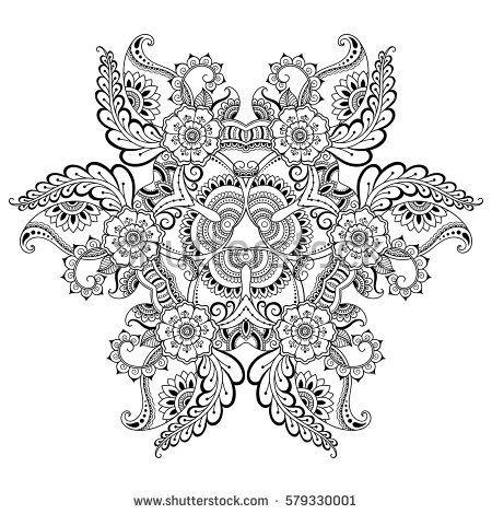 Vector henna tatoo mandala. Mehndi style.Decorative pattern in ...